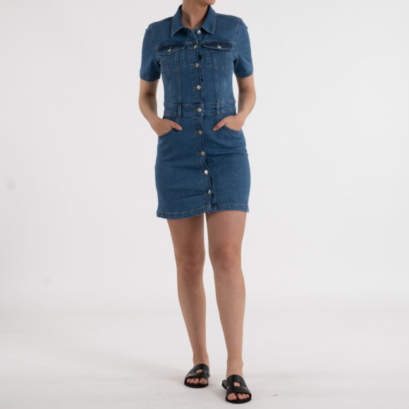 Image of   Button up mini denim dress