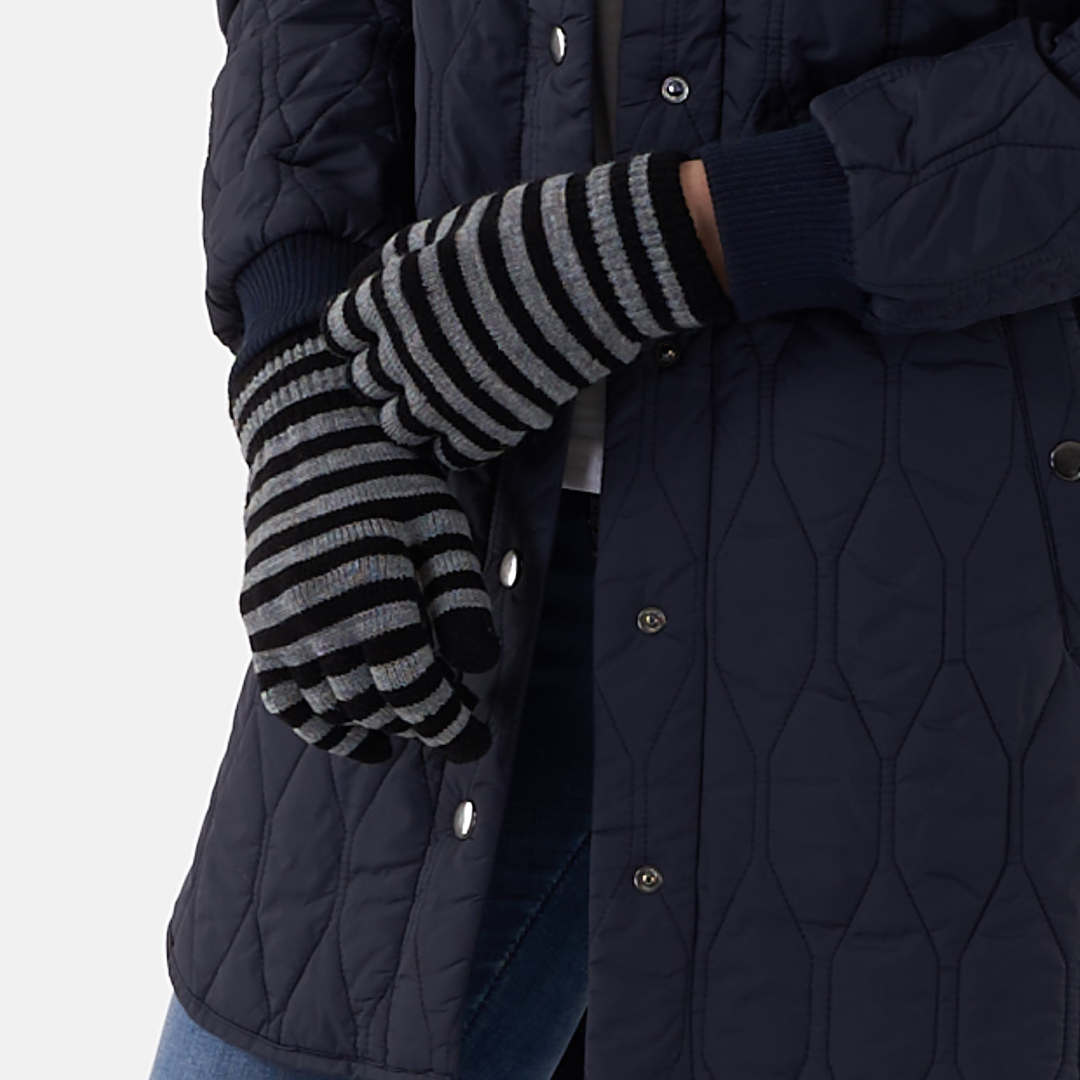 Pieces - Pcnew buddy stripe glove - Accessories til hende - Sort - O/S