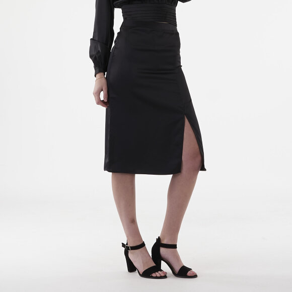 Image of   Front slit satin skirt