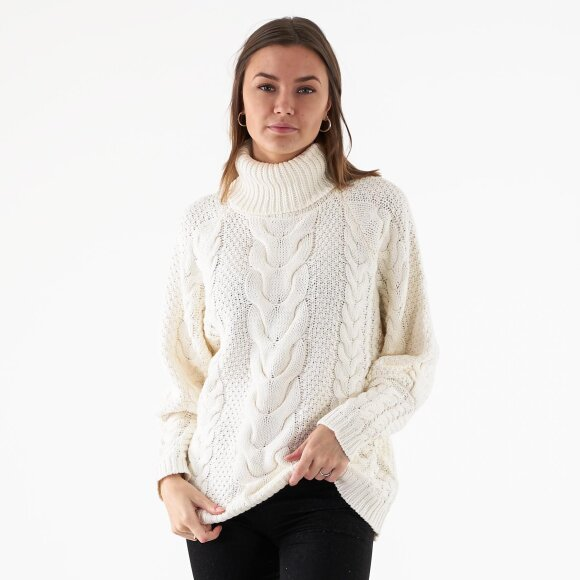Image of   High neck cable knit rib sweat