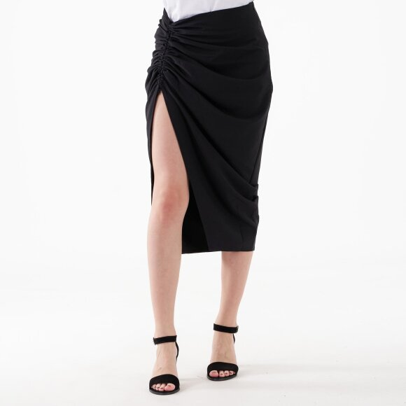 Image of   Gathered side split midi skirt