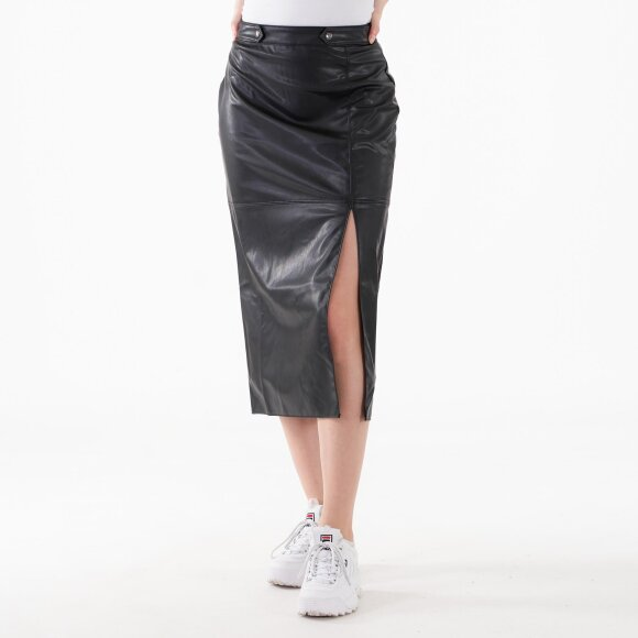 Image of   Faux leather side slit skirt