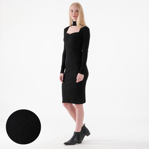 Image of   Cut out turtleneck rib dress