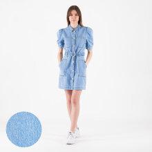 NA-KD - Puff sleeve belted denim dress
