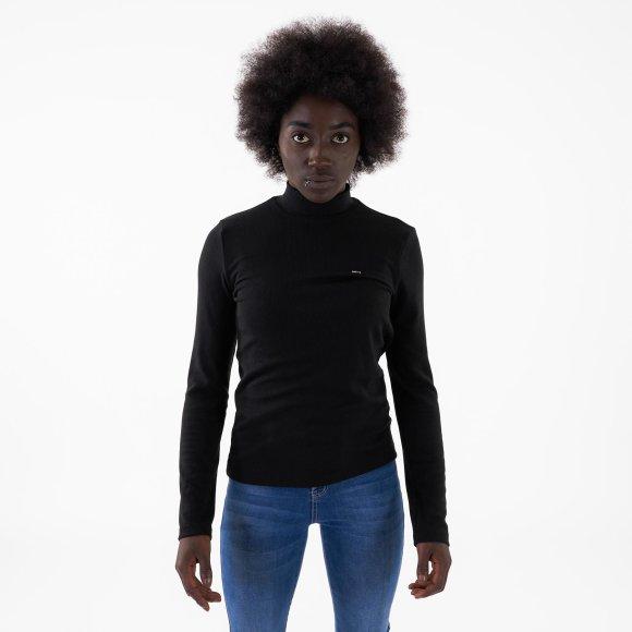 tommy jeans – Tjw rib mock neck longsleeve på kingsqueens.dk