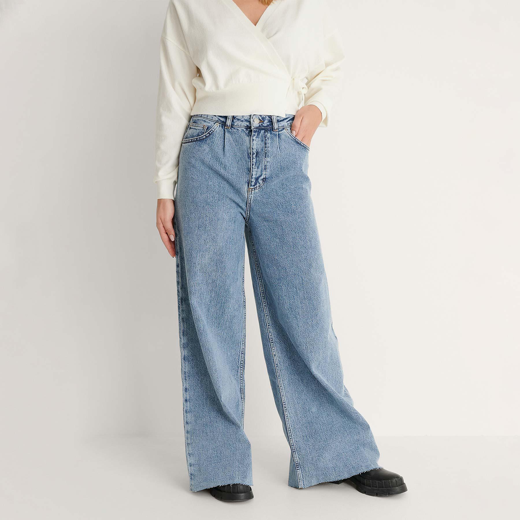 NA-KD – Wide leg denim – Jeans til damer – MID BLUE – 34